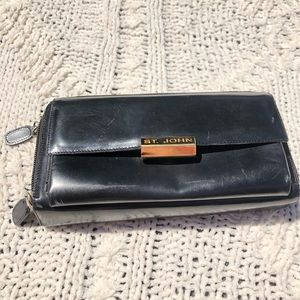 St. John Large Black Wallet